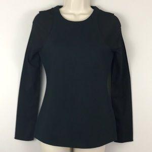 Kate Spade Saturday l/s top black sheer sleeves